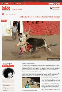Bullfighting story by Kirsten Koza in The Blot Magazine