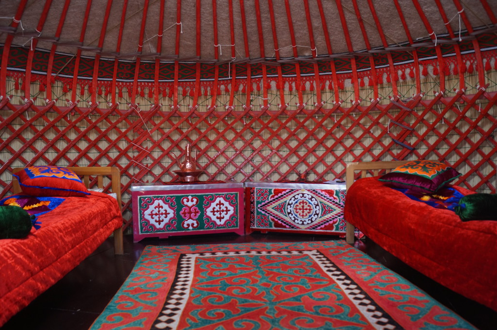 The interior of a yurt at a camp on Lake Song Kol; www.travel-experts.kg can arrange your stay here.  (Photo by Kirsten Koza)
