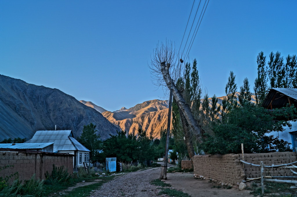 Kyzyl-Oi village at dawn. The Soviets forced the nomads into settlements. (Photo by Kirsten Koza)