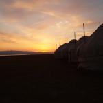 Kyrgyzstan sunrise over yurts (photo by Kirsten Koza)