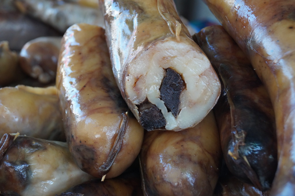 Horse fat and horse meat sausage at Osh market in Bishkek. (Photo by Kirsten Koza)