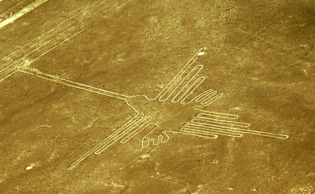 Nazca Lines — the hummingbird. Since I flew over the lines during the afternoon, I had to increase the shadows drastically in the photo. (Photo by Kirsten Koza)