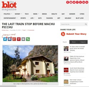 The Last Train Stop Before Machu Picchu - story by Kirsten Koza - screen capture from TheBlot magazine