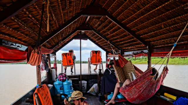 Aboard Dawn on the Amazon, Peru. (Photo by Kirsten Koza)