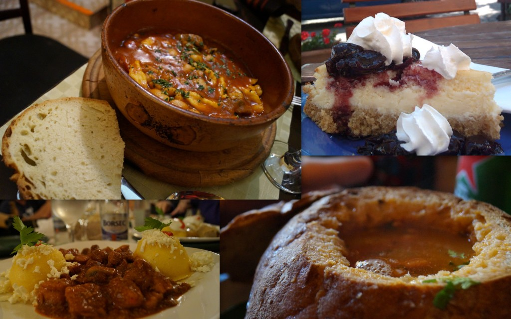 We'll be eating a harvest of Romanian food. (Photos of savories by Kirsten Koza and dessert by Horia Matei)