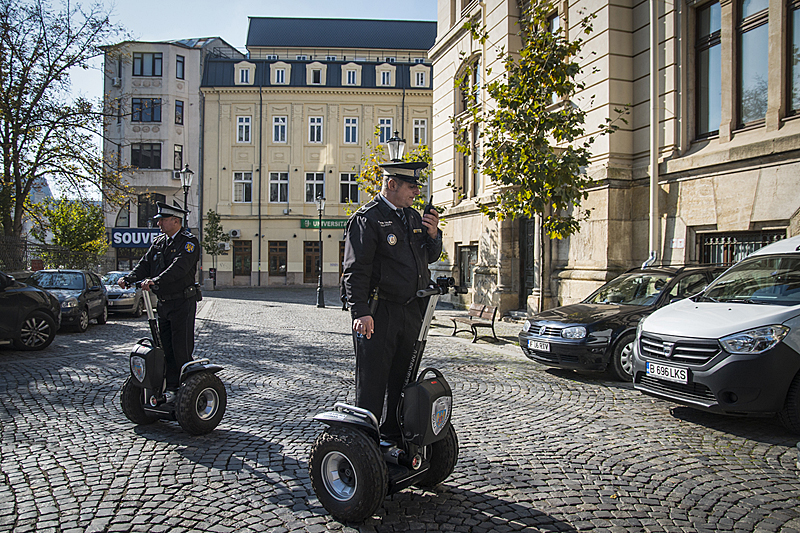 This amuses us. Police patrolling on Segways. Bucharest, Romania. (Photo by Christopher Campbell).