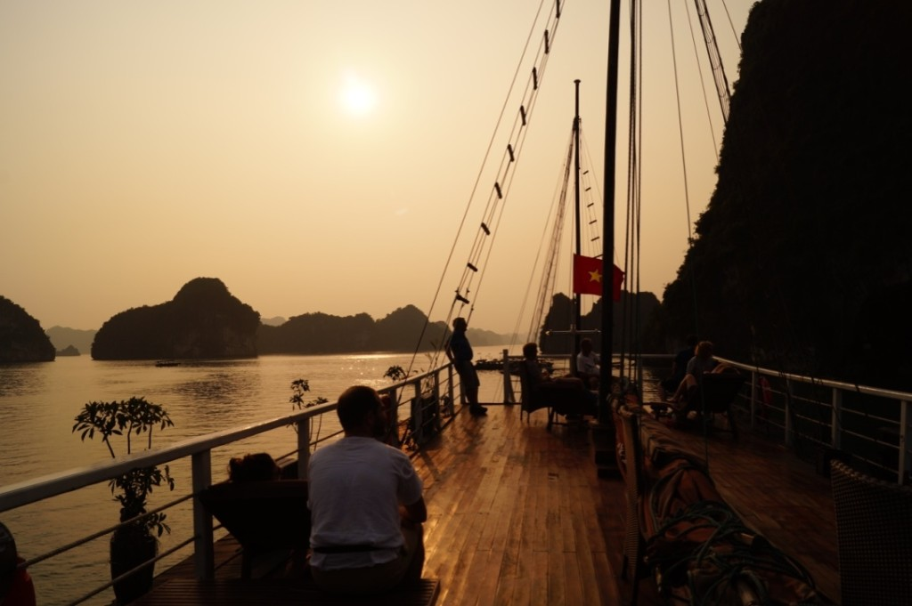 Ha Long Bay, sunset on cruise. (Photo by Kirsten Koza, Writers' Expeditions)