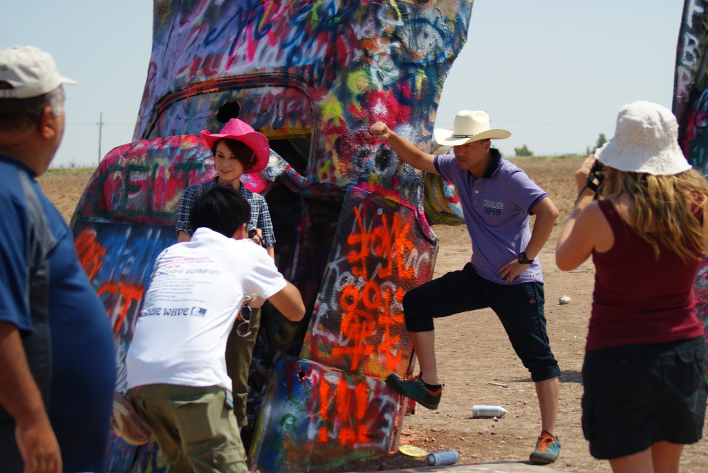 Chinese celebrities at Cadillac Ranch. (Photo by Kirsten Koza)