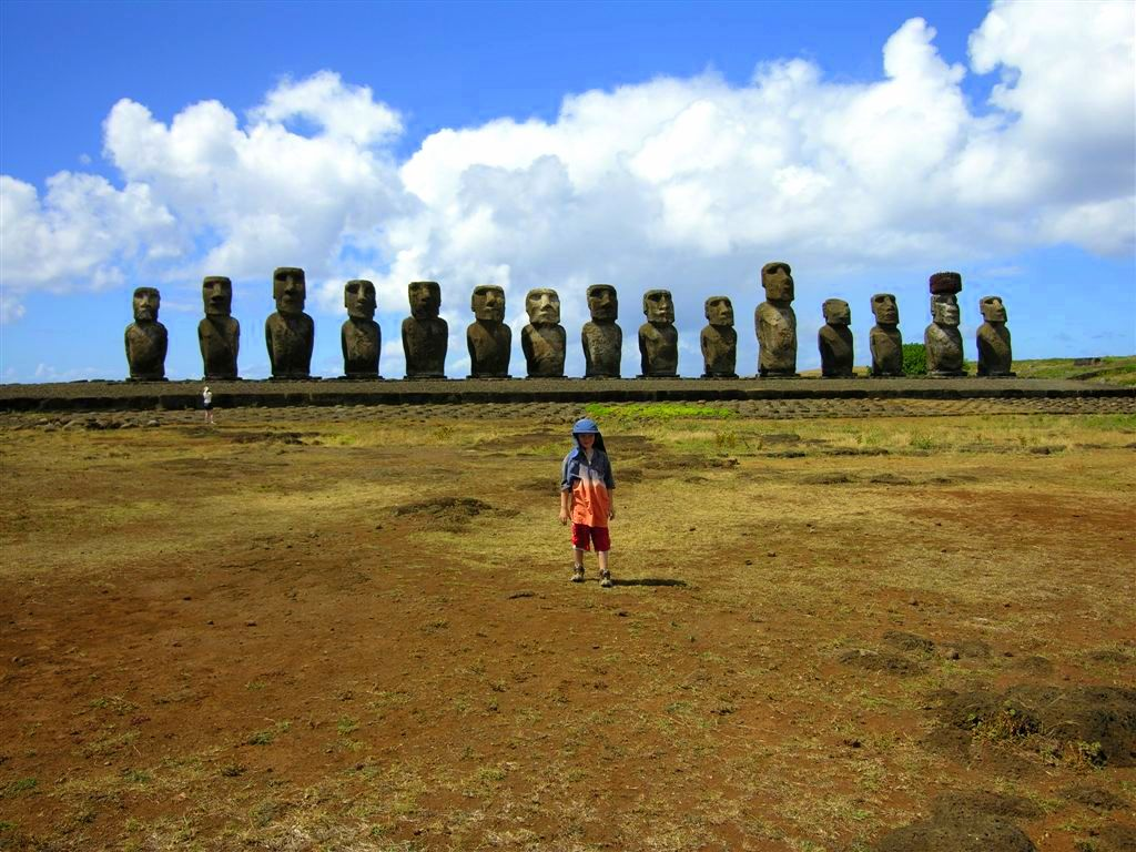 """Easter Island and the Chilean with the Brazilian"" (Photo of Rigel and moai by Kirsten Koza)"