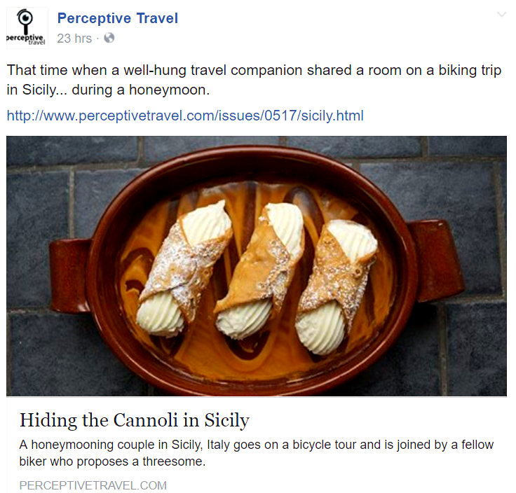 Perceptive Travel screen shot hiding the cannoli