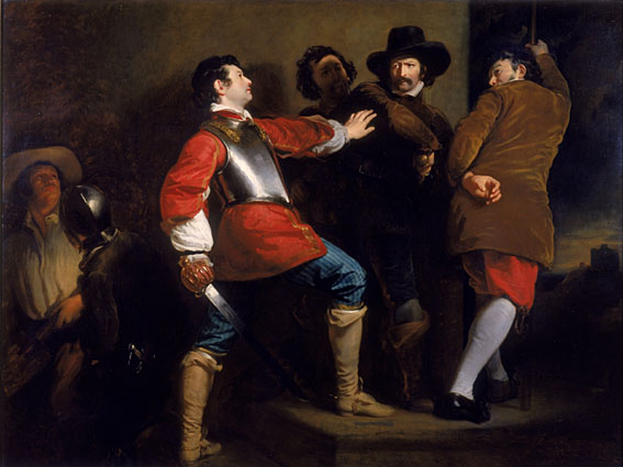 Guy Fawkes painting by Henry Perronet Briggs (c. 1823) titled Discovery of the Gunpowder Plot (public domain)