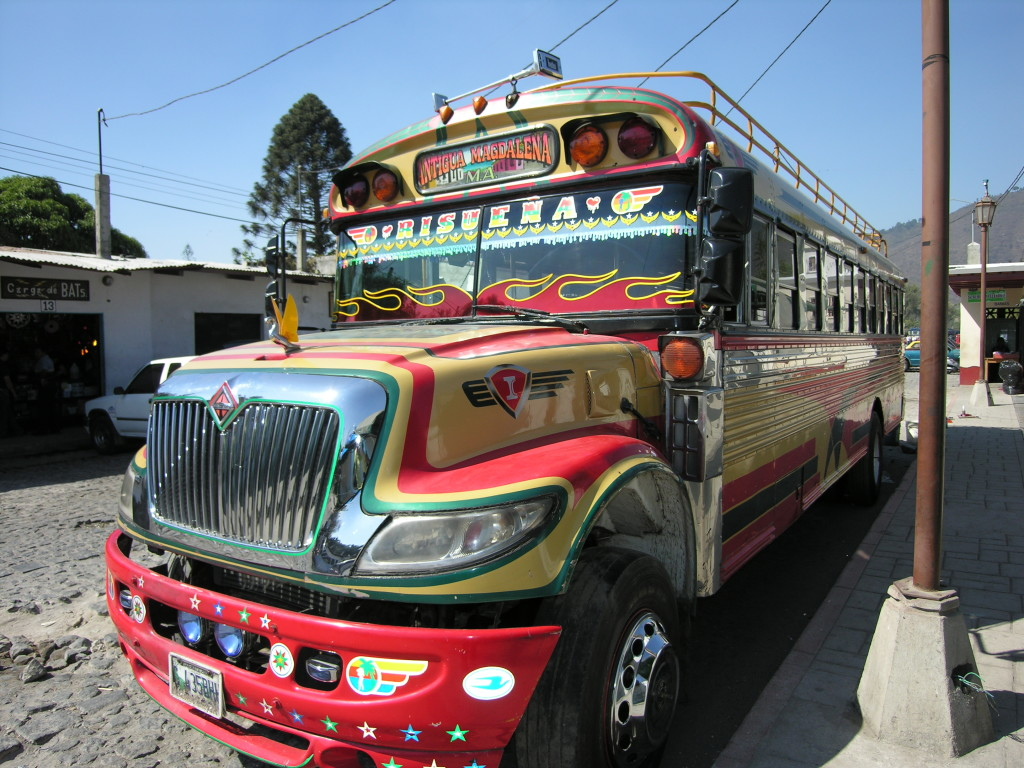 "A ""chicken bus"" in Antigua. We won't be taking the chicken bus, but you'll see them. (photo by Kirsten Koza)"