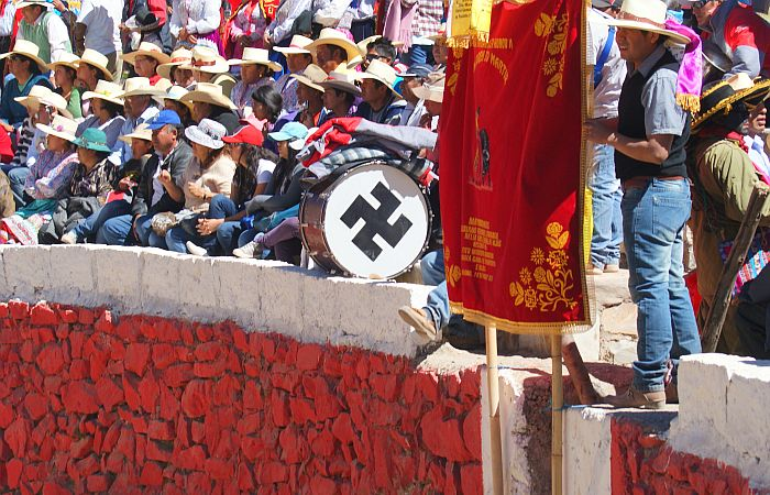 An accidental backwards swastika, or... (Photo taken by Kirsten Koza in Huambo's bullring, Colca Canyon, Peru)