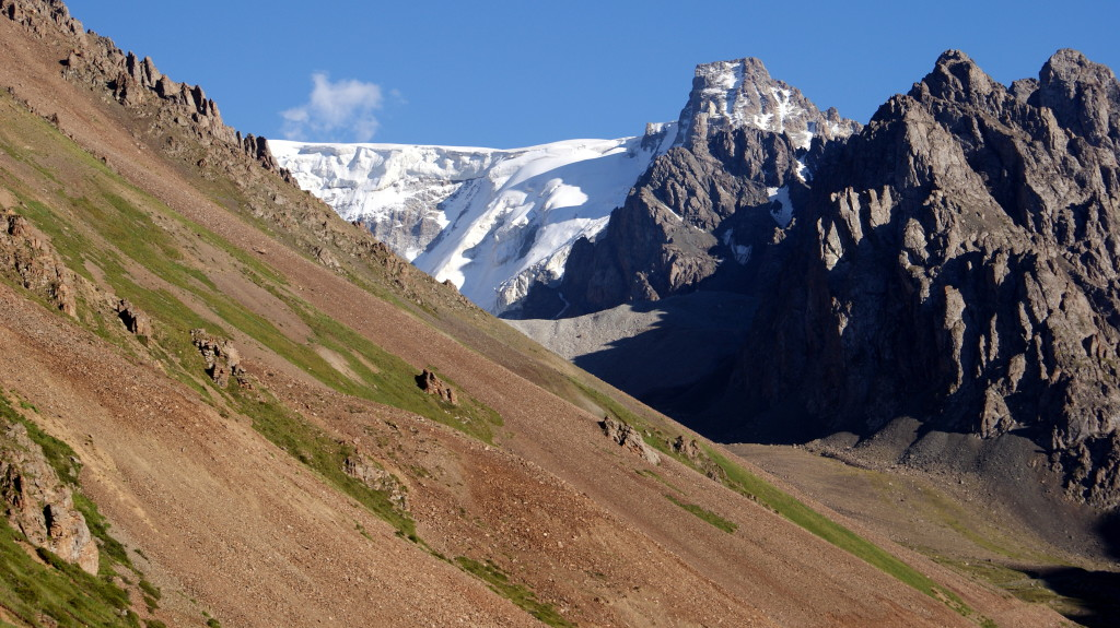 Chok-Tal Mountain, above Chong-Kemin, in the Celestial Mountains of Kyrgyzstan. I didn't want to be caught up here at night.(Photo by Kirsten Koza)