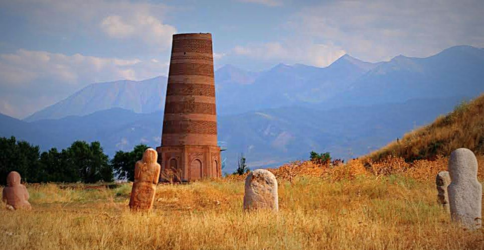 Burana tower, an 11th century minaret, Kyrgyzstan. (Photo by Kirsten Koza)