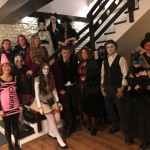 2018 Writers' Expeditions group shot after getting ready to go to the halloween party at Bran Castle.