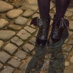 Bat boots on the cobbled streets, Vlad Dracula Expeditions. (Writers' Expeditions)