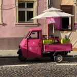 Pink waffle truck, Brasov, Romania. (Photo by Christopher Campbell, Writers' Expeditions)
