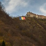 Romanian flag at Poenari. (Writers' Expeditions)
