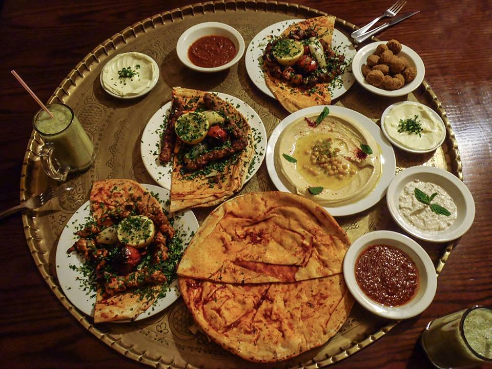 A giant platter of Jordanian mezze. (Photo by Christopher Campbell, your photography host on this expedition)