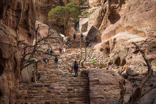 There are 850 steps leading to the monastery at Petra. It's optional, but we do recommend it. (Photo by Christopher Campbell, Writers' Expeditions)