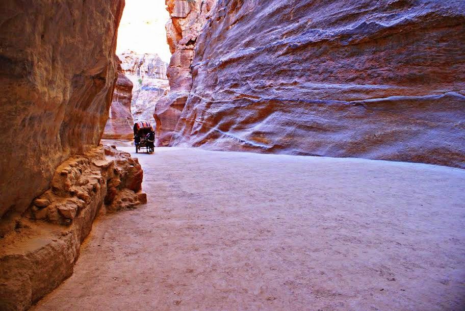 Jordan: you'll feel the history as you walk through the siq leading to Petra. It might look like a film set, but it's not, however, Indiana Jones fans will remember the scene shot here. (photo by Kirsten Koza, Writers' Expeditions)