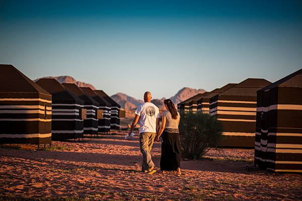 Bedouin tents made of goat hair at magic hour - you'll get to take some beauty photos at Salem's camp. (Photo by Christopher Campbell, Writers' Expeditions)
