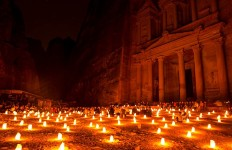 Petra candles at night, Jordan. (Photo by Christopher Campbell, Writers' Expeditions)