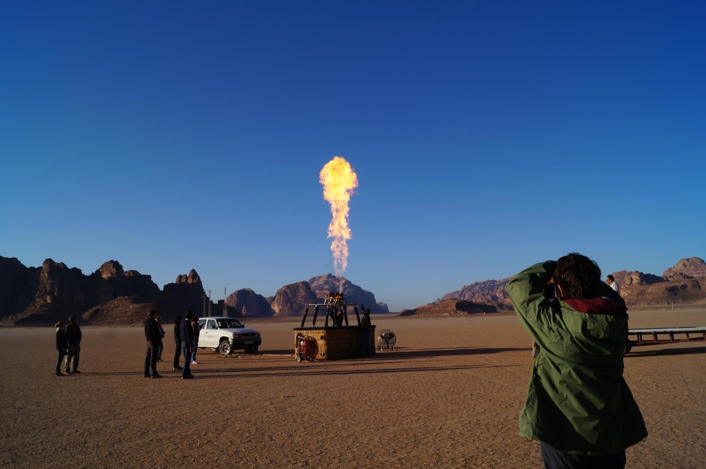 Setting up the hot air balloon in the early morning - Wadi Rum. (Photo by Kirsten Koza, Writers' Expeditions)
