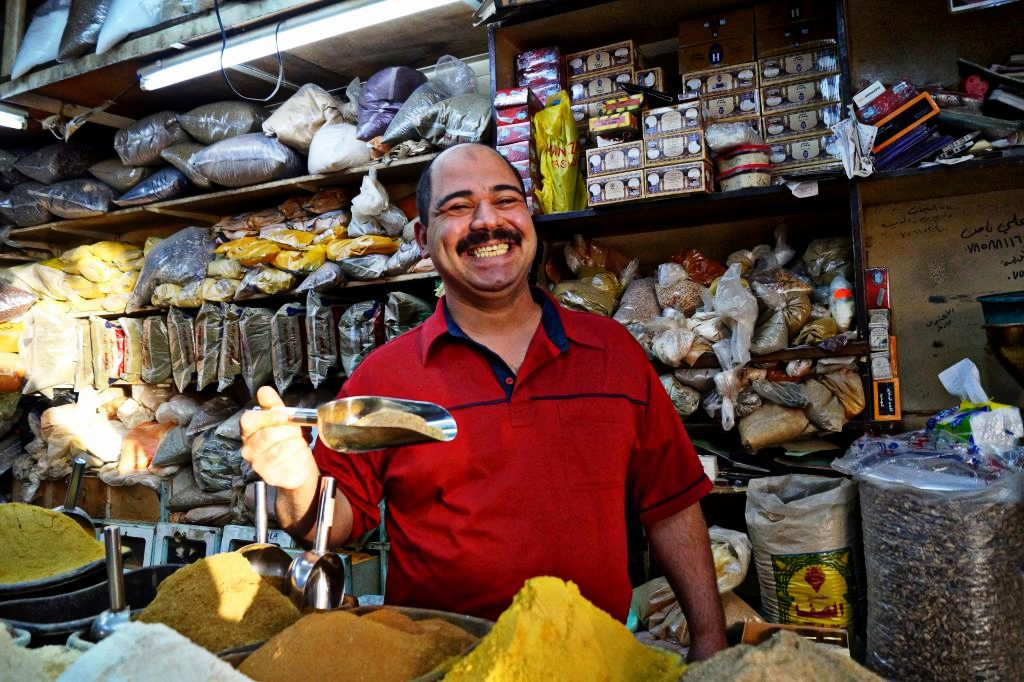 Spice merchant in Aqaba. (Photo by Kirsten Koza, Writers' Expeditions)