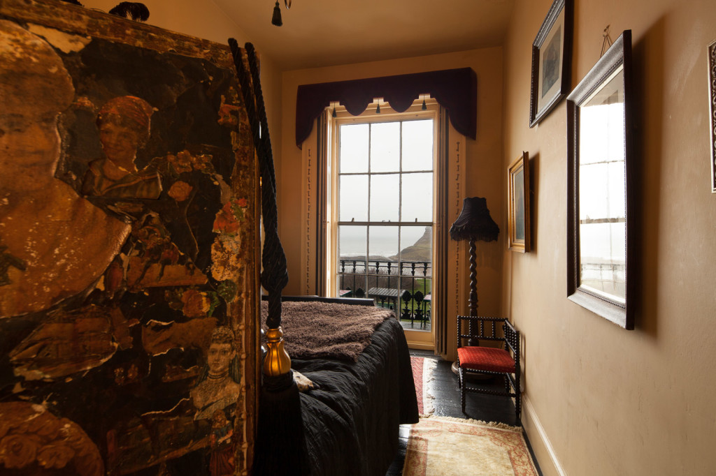 "The Stoker is one of the themed rooms at La Rosa boutique hotel (formerly Lewis Carroll's Yorkshire home). The view of the sea and Whitby Abbey (seen from that bed) inspired Bram Stoker to write ""Dracula."" (Photo courtesy of La Rosa)"