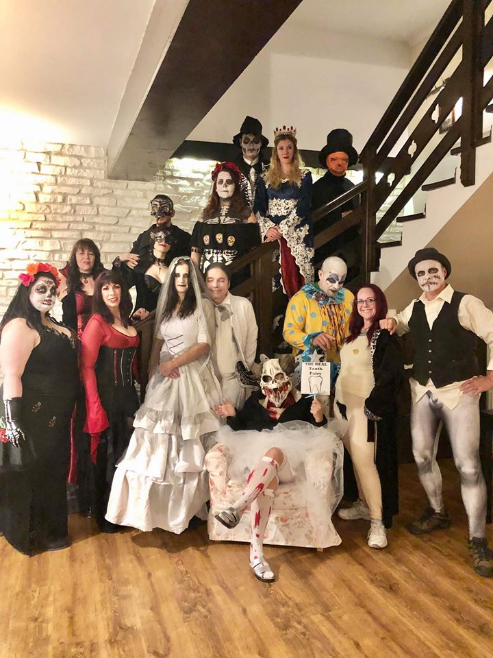 2019's participants at our guide's mountain lodge before heading to the Halloween party at Dracula's castle. (Writers' Expeditions - The Vlad Dracula Expedition)